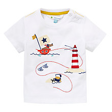 Buy John Lewis Puppy Pirate Ship T-Shirt, White/Multi Online at johnlewis.com