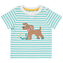 Buy John Lewis Stripe Dog T-Shirt, Turquoise/White Online at johnlewis.com