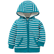 Buy John Lewis Stripe Borg Lined Hoody, Turquoise/White Online at johnlewis.com