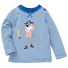 Buy John Lewis Baby's Pirate Monkey Long Sleeve T-Shirt, Blue/White Online at johnlewis.com