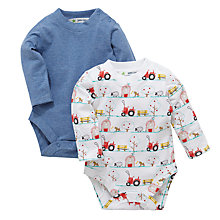 Buy John Lewis Farm and Marl Bodysuit, Pack of 2, White/Marl Online at johnlewis.com