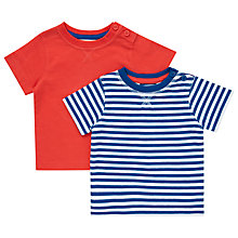 Buy John Lewis Nautical T-Shirt, Pack of 2, Blue/Red Online at johnlewis.com