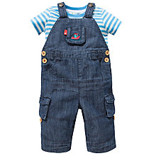Buy John Lewis Denim Dungarees and T-Shirt Set, Blue/White Online at johnlewis.com