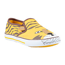 Buy John Lewis Ollie Lion Slip On Shoes, Orange/Brown Online at johnlewis.com