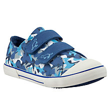 Buy John Lewis Barney Dinosaur Camo Print Canvas Trainers, Blue/Multi Online at johnlewis.com
