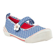 Buy John Lewis Nautical Dot Mary-Jane Canvas Shoes, Navy/White Online at johnlewis.com