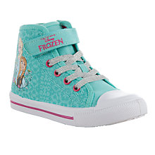 Buy Disney's Frozen Anna & Elsa High Top Canvas Trainers, Light Blue Online at johnlewis.com