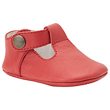 Buy John Lewis Leather T-Bar Booties, Red Online at johnlewis.com