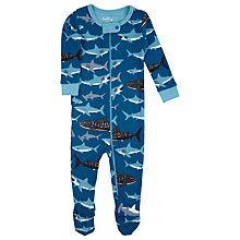 Buy Hatley Baby Shark Print Sleepsuit, Blue Online at johnlewis.com