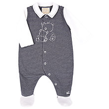 Buy Emile et Rose Baby Elvin Stripe Teddy Bear Sleepsuit, Navy/White Online at johnlewis.com