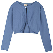 Buy Frugi Pointelle Knit Cropped Cardigan, Blue Online at johnlewis.com
