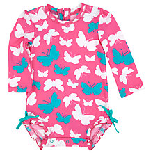 Buy Hatley Baby Long Sleeve Butterfly Swimsuit, Pink Online at johnlewis.com