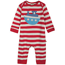 Buy Frugi Charlie Boat Stripe Onesie, Red/White Online at johnlewis.com