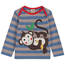 Buy Frugi Baby Bobby Monkey Long Sleeve Top, Blue Online at johnlewis.com