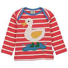 Buy Frugi Baby Duck Stripe Long Sleeve T-Shirt, Red Online at johnlewis.com