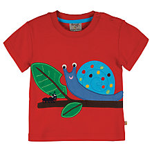 Buy Frugi Baby Ollie Snail T-Shirt, Red Online at johnlewis.com