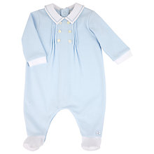 Buy Emile et Rose Baby Eton Collar Sleepsuit, Blue/White Online at johnlewis.com