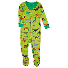 Buy Hatley Baby Dinosaur Print Sleepsuit, Green/Multi Online at johnlewis.com