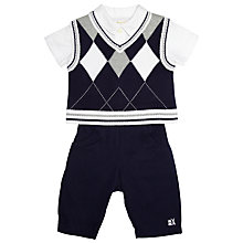 Buy Emile et Rose Baby Eton Vest, Shirt & Trousers, Navy/White Online at johnlewis.com