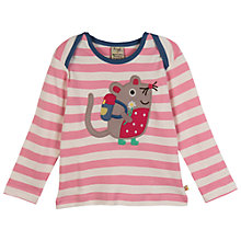 Buy Frugi Bobby Mouse Long Sleeve T-Shirt, Pink/White Online at johnlewis.com
