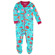 Buy Hatley Baby Turbo Fish Sleepsuit, Turquoise Online at johnlewis.com