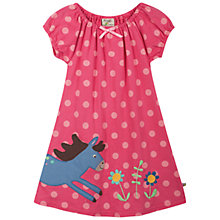 Buy Frugi Baby Jess Horse Spot Jersey Dress, Pink Online at johnlewis.com