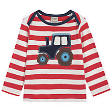 Buy Frugi Baby Tractor Stripe Long Sleeve Top, Red White Online at johnlewis.com