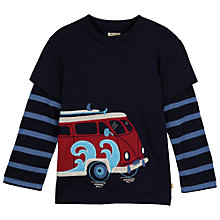 Buy Frugi Boys' Camper Van Print Layered T-Shirt, Navy Online at johnlewis.com