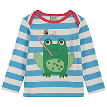 Buy Frugi Baby Bobby Frog Long Sleeve Top, Blue/White Online at johnlewis.com
