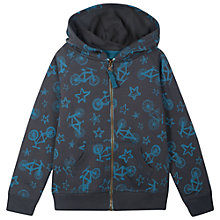 Buy Frugi Boys' Bike/Star Print Zip Hoodie, Grey Online at johnlewis.com