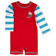 Buy Hatley Baby Long Sleeve Pirate Ship Swimsuit, Red/Blue Online at johnlewis.com