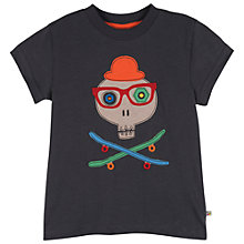 Buy Frugi Boys' Stanley Skull Applique T-Shirt, Grey Online at johnlewis.com