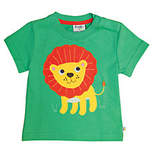 Buy Frugi Baby Lion Applique T-Shirt, Green Online at johnlewis.com