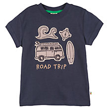 Buy Frugi Boy's Road Trip Applique T-Shirt, Navy Online at johnlewis.com