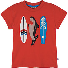 Buy Frugi Children's Beach Shark Applique T-Shirt, Red Online at johnlewis.com