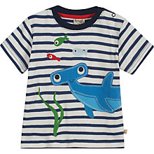 Buy Frugi Baby Sleeveless Shark Applique T-Shirt, Navy/Cream Online at johnlewis.com
