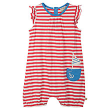 Buy Frugi Baby Run Around Stripe Rompersuit, Red/White Online at johnlewis.com