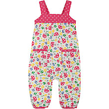 Buy Frugi Girls' Floral & Spot Print Dungarees, White/Pink Online at johnlewis.com