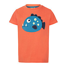 Buy Frugi Fish Appliqué Beach T-Shirt, Orange Online at johnlewis.com