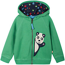 Buy Frugi Baby's Bertie Panda Hoodie, Green Online at johnlewis.com