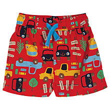 Buy Frugi Baby Beach Car Shorts, Red Online at johnlewis.com