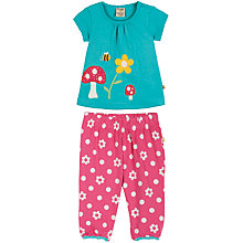 Buy Frugi Girls' Smock Top & Pull On Trousers Set, Blue/Pink Online at johnlewis.com