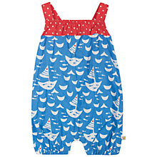 Buy Frugi Baby Seaside Playsuit, Blue/Red Online at johnlewis.com