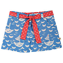 Buy Frugi Children's Martha Boat Shorts, Blue/Cream Online at johnlewis.com