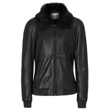 Buy Reiss Priya Leather Bomber Jacket, Black Online at johnlewis.com
