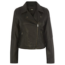 Buy Oasis Hannah Faux Leather Biker Jacket, Black Online at johnlewis.com