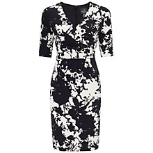 Buy Adrianna Papell Pleat Detail Wrap Dress, Cream/Black Online at johnlewis.com