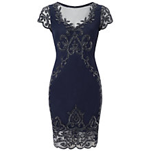Buy Adrianna Papell Short Beaded Illusion Dress, Midnight Blue Online at johnlewis.com