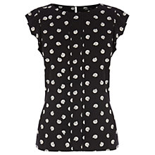 Buy Oasis Cat Spot Shell Top, Black Online at johnlewis.com
