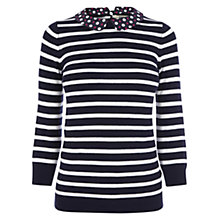 Buy Oasis Stripe Print Collar Top, Off-White Online at johnlewis.com
